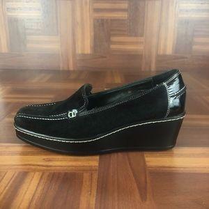 DONALD J PLINER PENI Black Leather Wedge Loafers